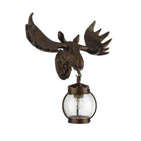 Настенный фонарь Favourite Hunt 1848-1W, IP44, 1xE27x60W, коричневый, прозрачный, гипс, металл, ковка, металл со стеклом