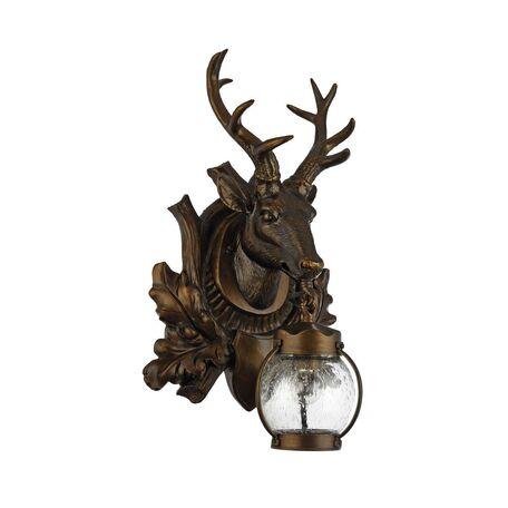 Настенный фонарь Favourite Hunt 1849-1W, IP44, 1xE27x60W, коричневый, прозрачный, гипс, металл, ковка, металл со стеклом