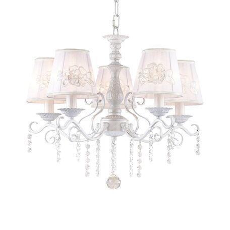 Подвесная люстра Favourite Melissa 1732-5P, 5xE14x40W, белый с серебряной патиной, белый, прозрачный, металл, текстиль, хрусталь - миниатюра 1