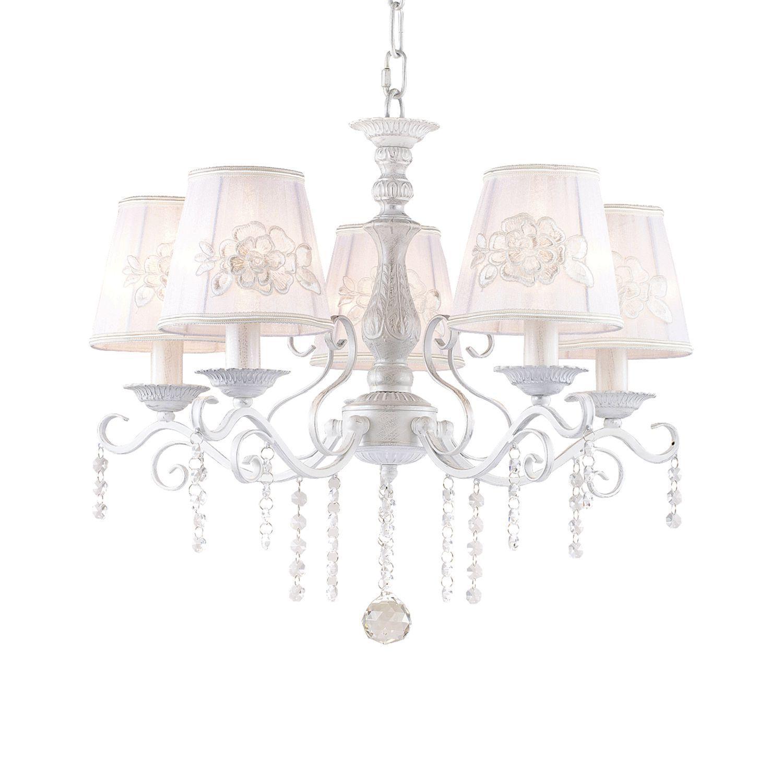 Подвесная люстра Favourite Melissa 1732-5P, 5xE14x40W, белый с серебряной патиной, белый, прозрачный, металл, текстиль, хрусталь - фото 1