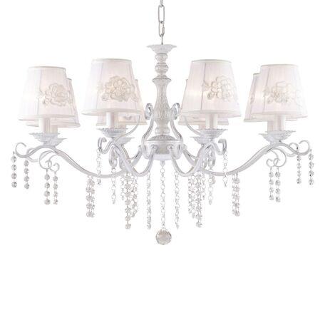 Подвесная люстра Favourite Melissa 1732-8P, 8xE14x40W, белый с серебряной патиной, белый, прозрачный, металл, текстиль, хрусталь