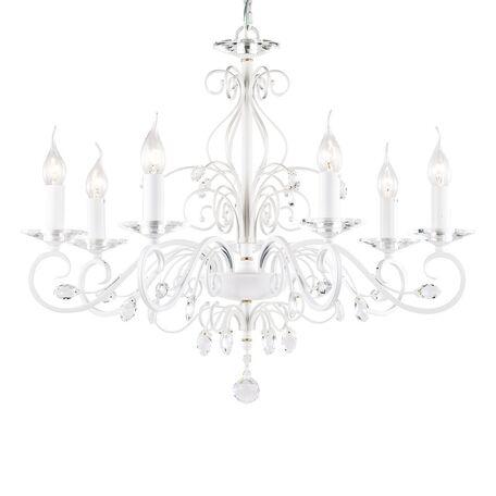 Подвесная люстра Favourite Lanta 1733-7P, 7xE14x40W, белый, прозрачный, металл с хрусталем, хрусталь