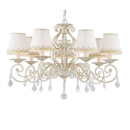 Подвесная люстра Favourite Musa 1734-7P, 7xE14x40W, бежевый с золотой патиной, белый, прозрачный, металл, текстиль, хрусталь