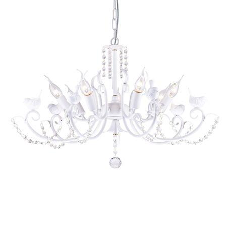 Подвесная люстра Favourite Cardellino 1836-7P, 7xE14x40W, белый, прозрачный, гипс, металл, хрусталь