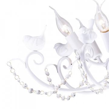 Подвесная люстра Favourite Cardellino 1836-7P, 7xE14x40W, белый, прозрачный, гипс, металл, хрусталь - миниатюра 2