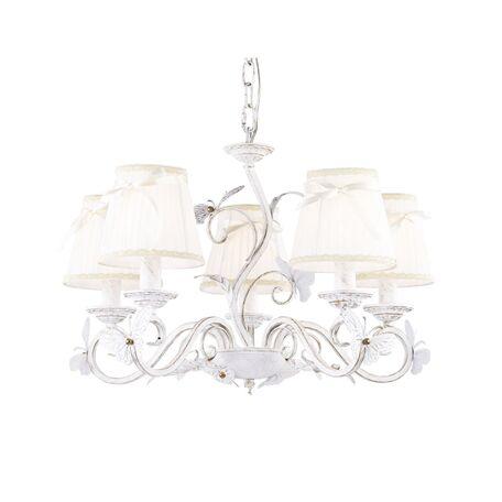 Подвесная люстра Favourite Mariposa 1839-5P, 5xE14x40W, белый с золотой патиной, бежевый, прозрачный, металл, текстиль, хрусталь