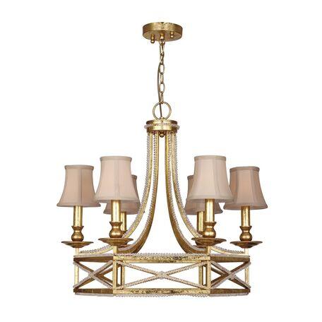 Подвесная люстра Favourite Marquise 1922-6P, 6xE14x40W, матовое золото, бежевый, металл с хрусталем, текстиль