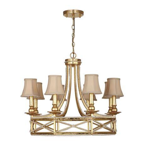 Подвесная люстра Favourite Marquise 1922-8P, 8xE14x40W, матовое золото, прозрачный, бежевый, металл, хрусталь, текстиль