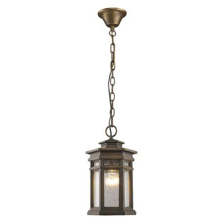 Подвесной светильник Favourite Guards 1458-1P, IP44, 1xE27x60W, коричневый, прозрачный, металл, ковка, металл со стеклом
