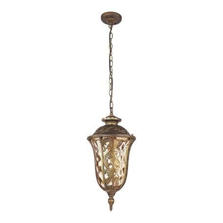 Подвесной светильник Favourite Luxus 1495-1P, IP44, 1xE27x60W, коричневый, янтарь, металл, ковка, металл со стеклом
