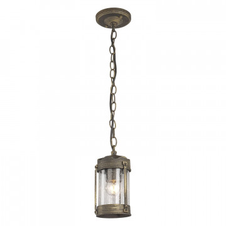 Подвесной светильник Favourite Faro 1497-1P, IP44, 1xE27x60W, коричневый с золотой патиной, прозрачный, металл, ковка, металл со стеклом