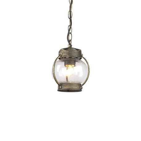 Подвесной светильник Favourite Faro 1498-1P, IP44, 1xE27x60W, коричневый с золотой патиной, прозрачный, металл, ковка, металл со стеклом