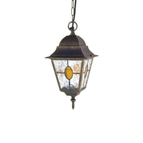 Подвесной светильник Favourite Zagreb 1804-1P, IP44, 1xE27x100W, черный с золотой патиной, янтарь, металл, металл со стеклом/пластиком