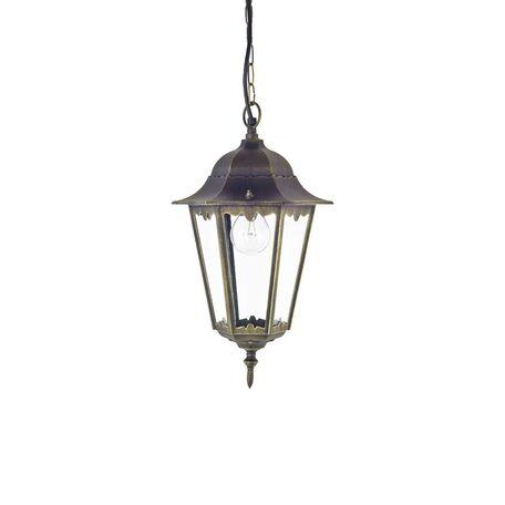 Подвесной светильник Favourite London 1808-1P, IP44, 1xE27x100W, черный с золотой патиной, прозрачный, металл, металл со стеклом