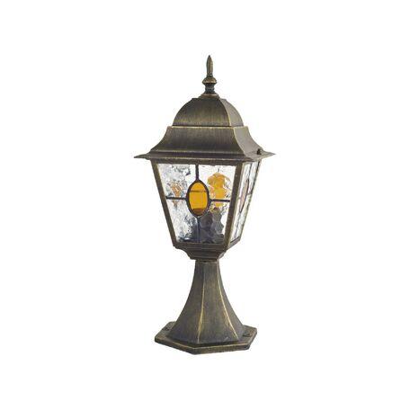 Садово-парковый светильник Favourite Zagreb 1805-1T, IP44, 1xE27x100W, черный с золотой патиной, янтарь, металл, металл со стеклом