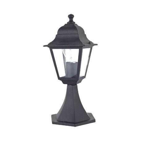 Садово-парковый светильник Favourite Leon 1812-1T, IP44, 1xE27x60W, черный, прозрачный, металл, металл со стеклом