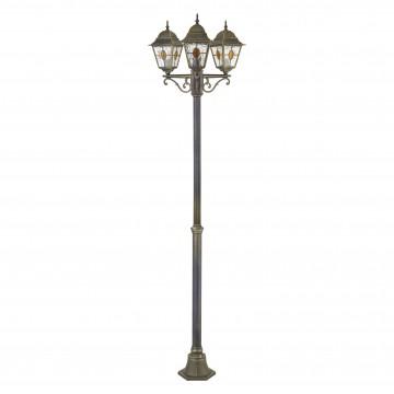 Уличный фонарь Favourite Zagreb 1804-3F, IP44, 3xE27x100W, черный с золотой патиной, коньячный, матовый, металл, стекло