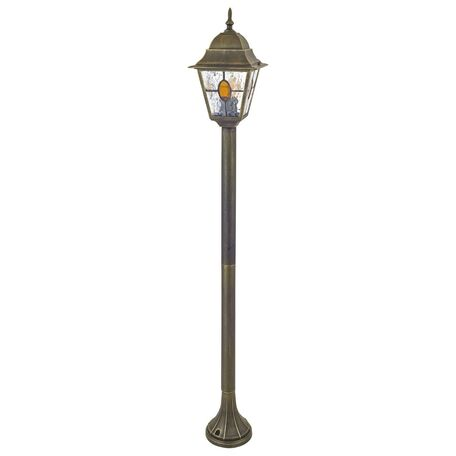 Уличный фонарь Favourite Zagreb 1804-1F, IP44, 1xE27x100W, черный с золотой патиной, янтарь, металл, металл со стеклом