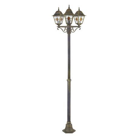 Уличный фонарь Favourite Zagreb 1804-3F, IP44, 3xE27x100W, черный с золотой патиной, прозрачный, янтарь, металл, стекло