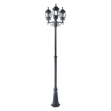 Уличный фонарь Favourite Paris 1806-3F, IP44, 3xE27x100W, бирюзовый, прозрачный, металл, ковка, металл со стеклом