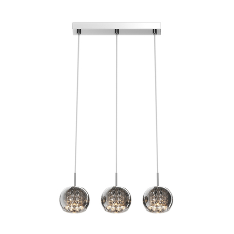 Подвесной светильник Zumaline Crystal P0076-03N-B5FZ, 3xG9x42W, хром, дымчатый, прозрачный, металл, стекло, хрусталь
