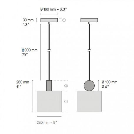 Схема с размерами LUSTRAM CALE PENDANT V2 23