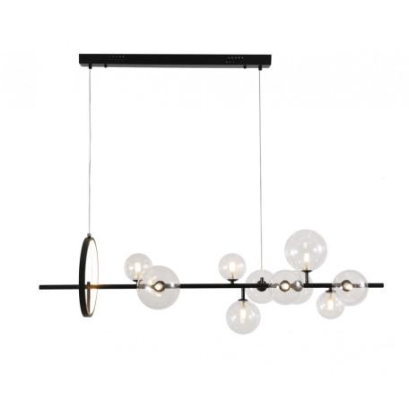 Подвесной светильник Kink Light Иона 07608-10,19, 10xG4x5W + LED 17W 2450lm, черный, прозрачный, металл, стекло