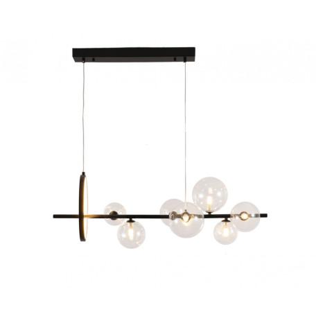 Подвесной светильник Kink Light Иона 07608-7,19, 7xG4x5W + LED 17W 2450lm, черный, прозрачный, металл, стекло
