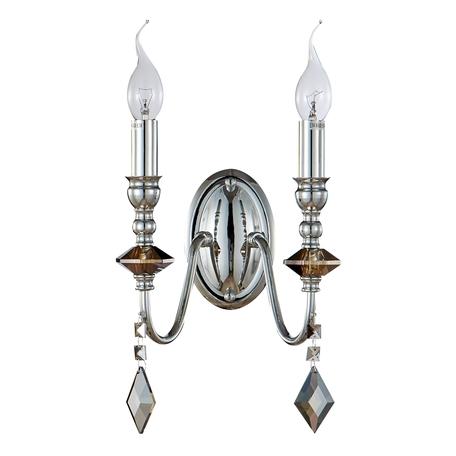 Бра Crystal Lux MERCEDES AP2 CHROME/SMOKE 0950/402, 2xE14x60W, хром, дымчатый, металл с хрусталем, хрусталь