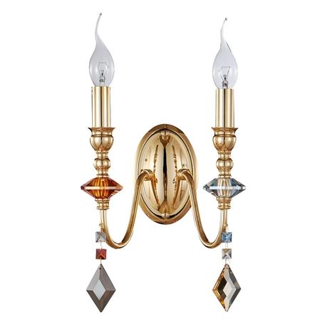 Бра Crystal Lux MERCEDES AP2 GOLD/COLOR 0951/402, 2xE14x60W, золото, разноцветный, металл с хрусталем, хрусталь
