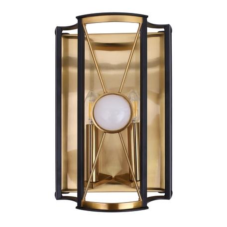 Настенный светильник Crystal Lux TANDEM AP2 GOLD 3151/402, 2xE14x60W, матовое золото, черный, металл, камень