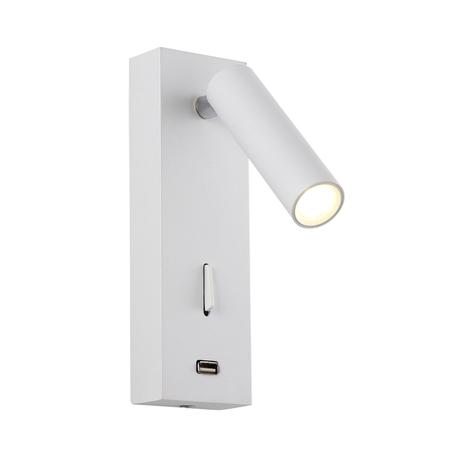 Настенный светодиодный светильник с регулировкой направления света Crystal Lux CLT 210W USB WH 1400/468, LED 3W 3000K 180lm CRI>80, белый, металл