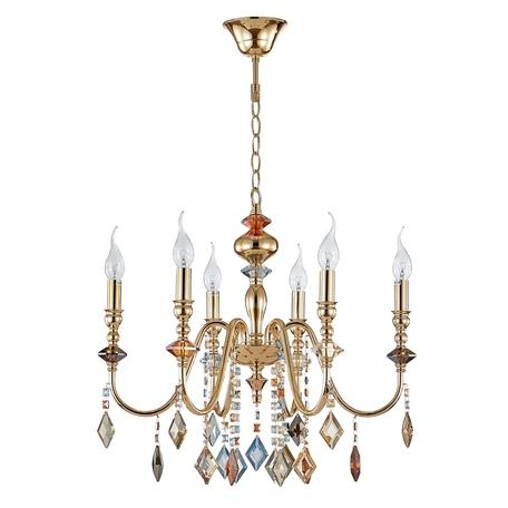 Подвесная люстра Crystal Lux MERCEDES SP6 GOLD/COLOR 0951/306, 6xE14x60W, золото, разноцветный, металл с хрусталем, хрусталь