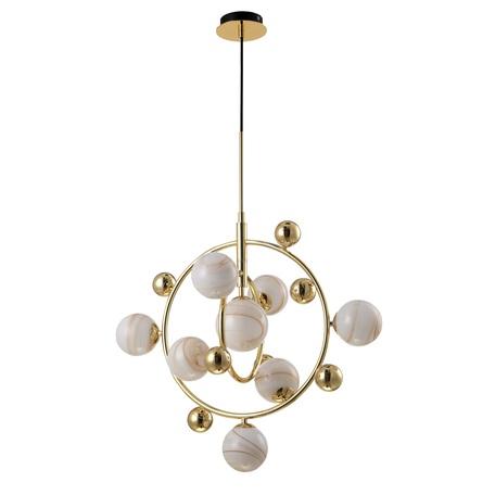 Подвесная люстра Crystal Lux SALVADORE SP8V GOLD 3641/208, 8xG9x60W, золото, белый, металл, стекло