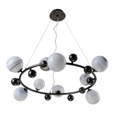 Подвесная люстра Crystal Lux SALVADORE SP9H BLACK CHROMIUM 3642/209, 9xG9x60W, хром, белый, металл, стекло