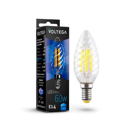Филаментная светодиодная лампа Voltega Crystal 7028 витая свеча E14 6W, 4000K (дневной) 220V, гарантия 3 года