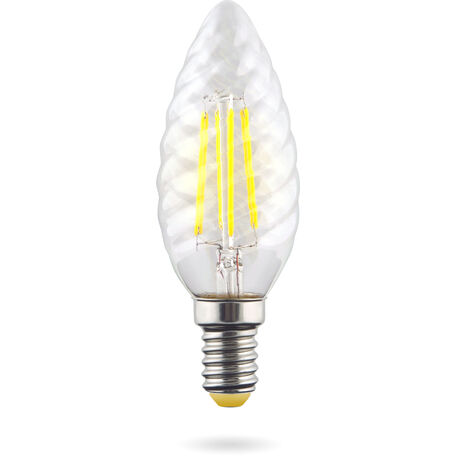 Филаментная светодиодная лампа Voltega Crystal 7028 витая свеча E14 6W, 4000K 220V, гарантия 3 года