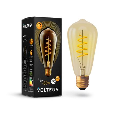 Филаментная светодиодная лампа Voltega Loft LED 7077 прямосторонняя груша E27 4W, 2000K (теплый) 220V, диммируемая, гарантия 3 года