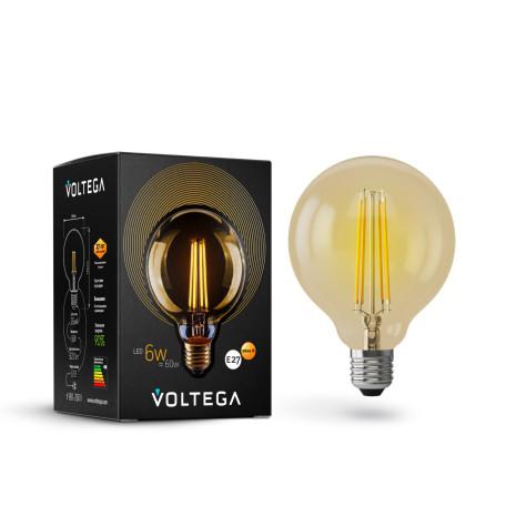 Филаментная светодиодная лампа Voltega Loft LED 7084 шар E27 6W, 2800K (теплый) 220V, гарантия 3 года
