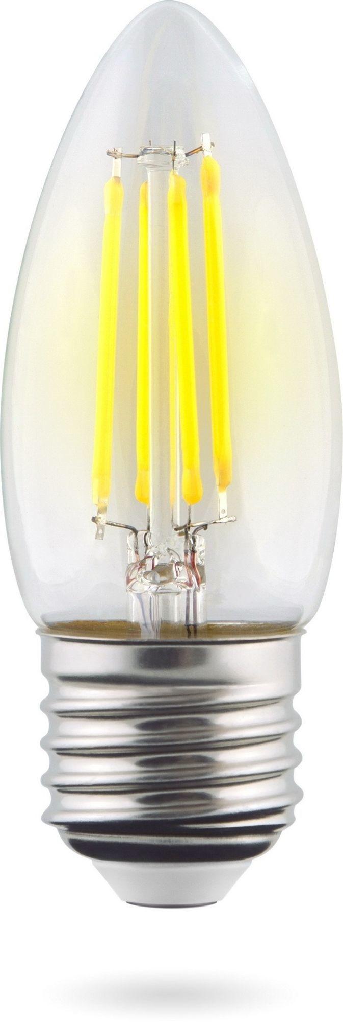 Филаментная светодиодная лампа Voltega Crystal 7046 свеча E27 6W, 2800K (теплый) 220V, гарантия 3 года - фото 1