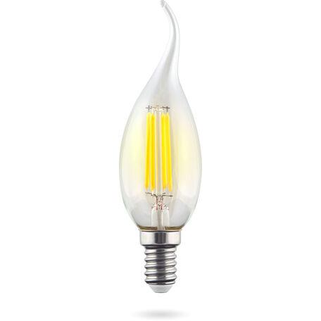 Светодиодная лампа Voltega Crystal 7080 свеча на ветру E14 6W, 2800K (теплый) 220V, диммируемая, гарантия 3 года