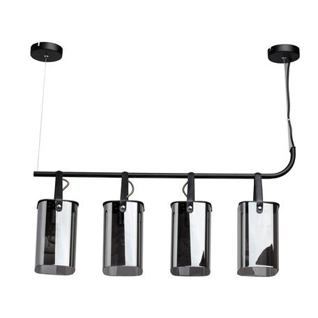 Подвесной светильник De Markt Тетро 18 673015604, 4xE27x40W, черный, дымчатый, металл, кожа, стекло