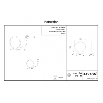 Схема с размерами Maytoni MOD807TL-L18W