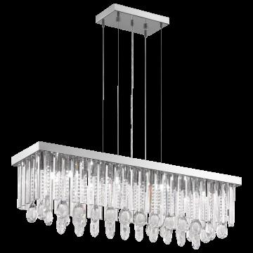 Подвесной светильник Eglo Calaonda 93423, 1xG9x33W, хром, прозрачный, металл, хрусталь