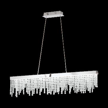 Подвесной светодиодный светильник Eglo Antelao 39284, LED 32W 4000K 4200lm CRI>80, хром, прозрачный, металл, хрусталь