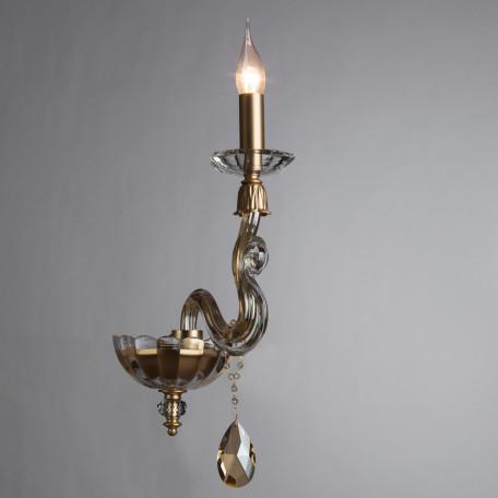Бра Divinare Carl 5124/07 AP-1, 1xE14x40W, матовое золото, янтарь, хрусталь - миниатюра 2