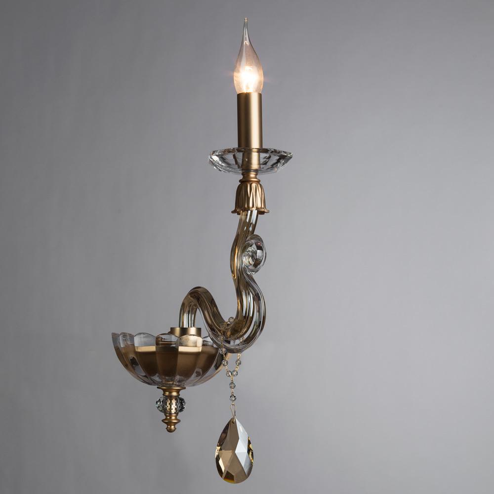 Бра Divinare Carl 5124/07 AP-1, 1xE14x40W, матовое золото, янтарь, хрусталь - фото 2