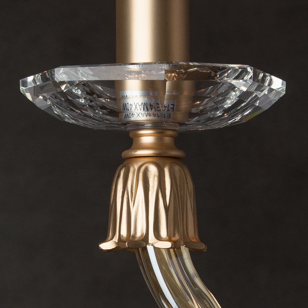 Бра Divinare Carl 5124/07 AP-1, 1xE14x40W, матовое золото, янтарь, хрусталь - фото 4