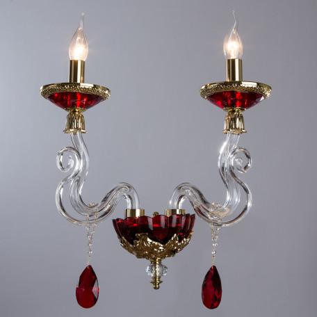 Бра Divinare Simona 5125/10 AP-2, 2xE14x40W, красный, хрусталь - миниатюра 2