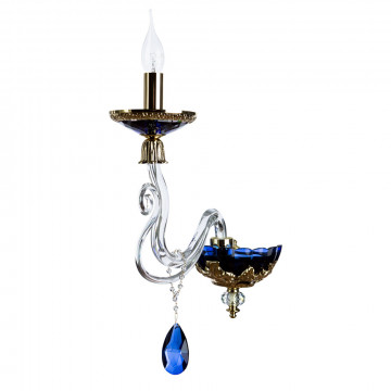 Бра Divinare Simona 5125/11 AP-1, 1xE14x40W, золото, прозрачный, синий, хрусталь